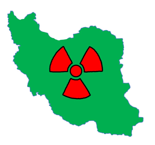 Iran with nuclear symbol | by futureatlas.com