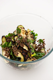 lentil salad with bbq zucchini | by jules:stonesoup