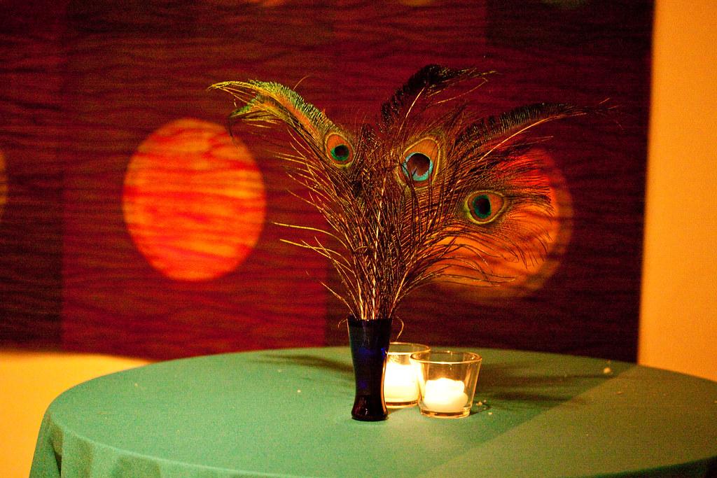 Super fun feather wedding decor