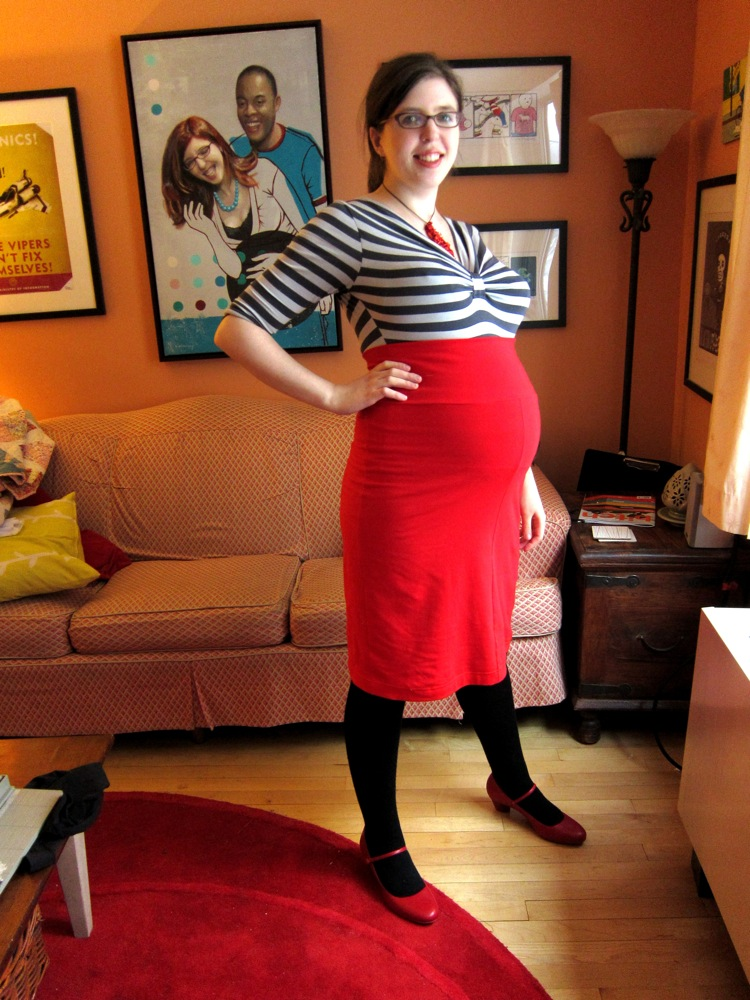 """BurdaStyle """"Melissa"""" High-Waisted Knit Skirt--Red Maternity Version Side View"""