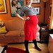 "BurdaStyle ""Melissa"" High-Waisted Knit Skirt--Red Maternity Version Side View"