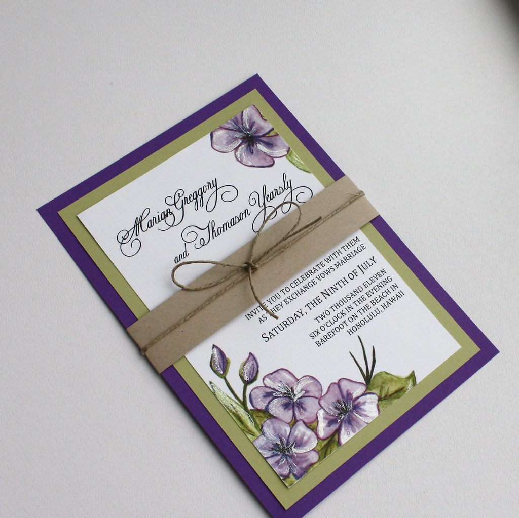 Purple and Green Floral Wedding Invitation Set - with Bell… | Flickr