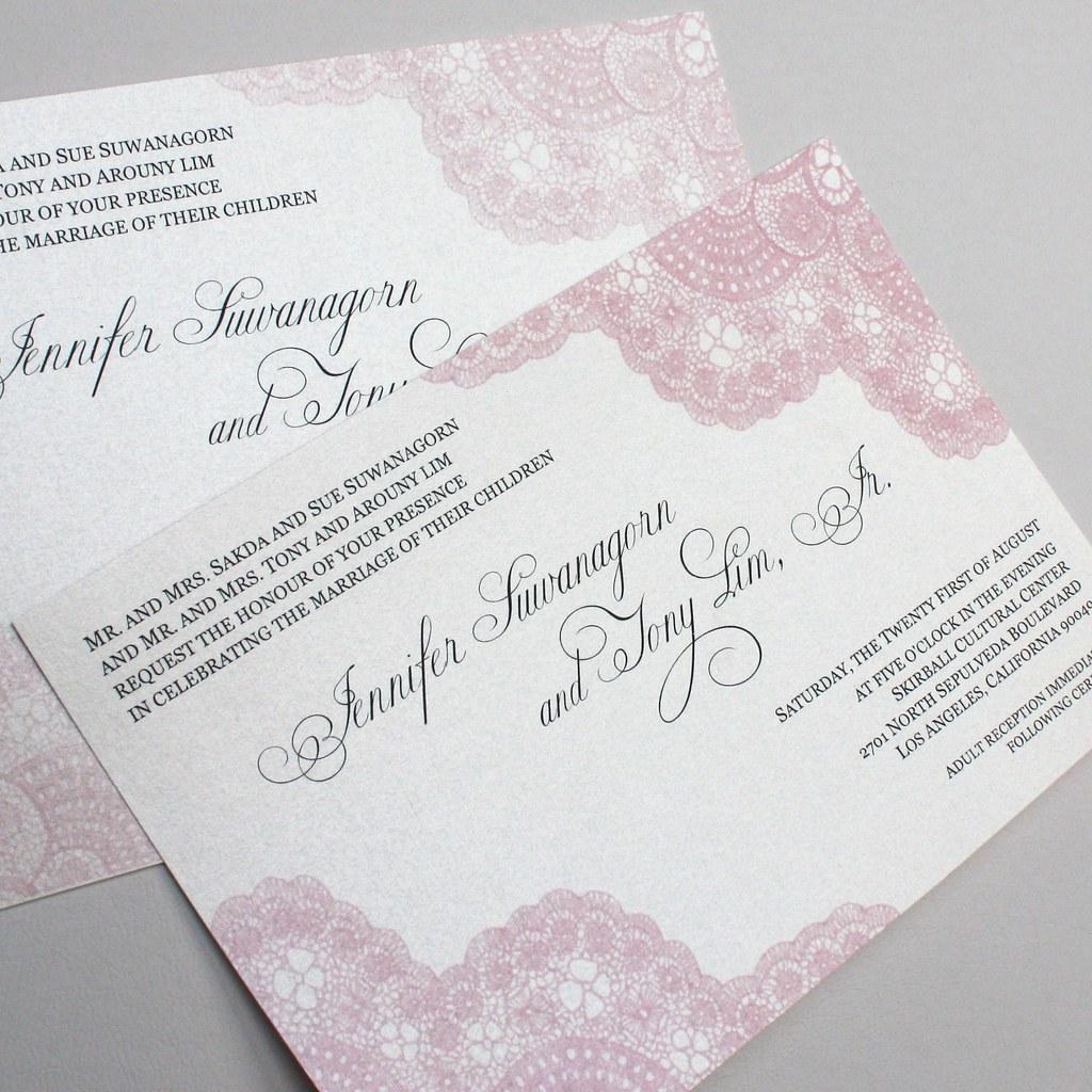 Jennifer and Tony\'s Pink Vintage Antique Lace Wedding Invi…   Flickr