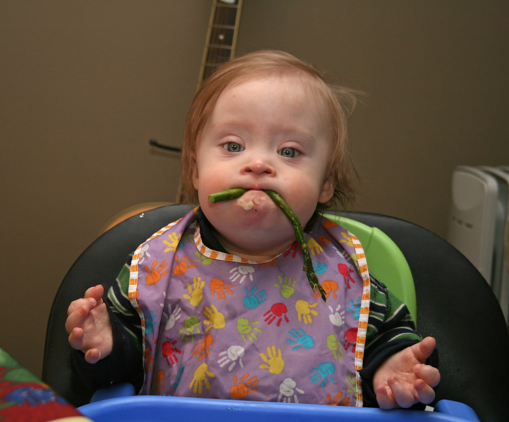 Image result for baby eating asparagus