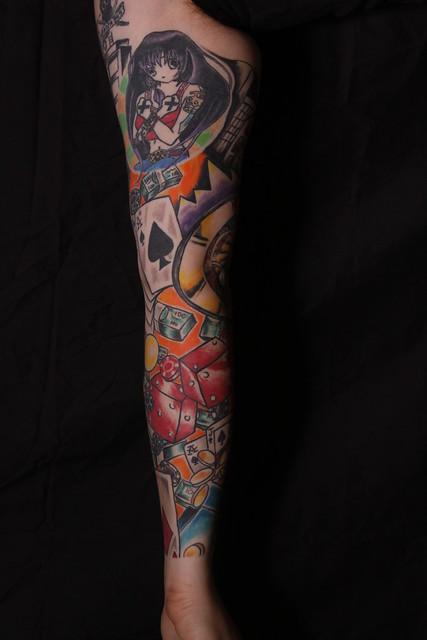 Gambling sleeve tattoo designs