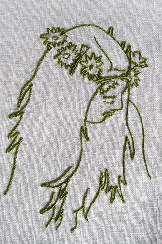 Persephone embroidery on teatowel | by edwardandlilly