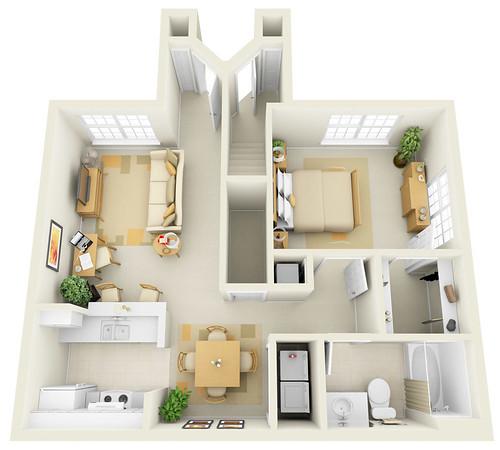Websites For Apartment Rentals: 1BR - 3D Floor Plan For Websites & Downloading