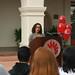 President Rush presenting Elizabeth Freeman, chair of the ASI Hurricane Katrina Relief Effort