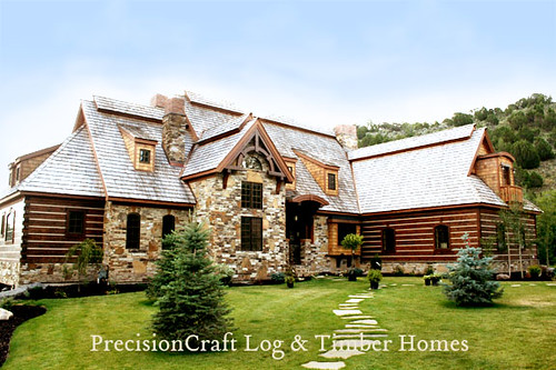 Hybrid log timber home located in eastern idaho prec for Idaho house plans
