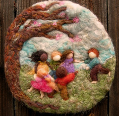 Needle Felted Sculptural Wool Painting Come Play With Us bas Reliefwm1 | by Nushkie Design
