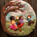 Needle Felted Sculptural Wool Painting Come Play With Us bas Reliefwm1