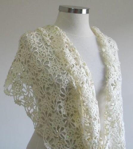 Crocheted Ivory Wedding Shawl Soft Handmade Ivory