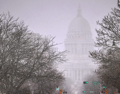 Capitol Looms Over Downtown Madison on a Snowy Afternoon | by Madison Guy