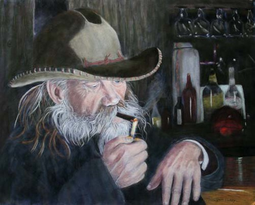 Old Cowboy Pastel Painting The Photo Uploaded Before