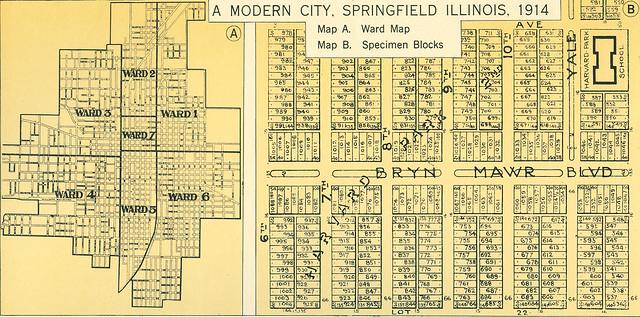 A Modern City Springfield Illinois 1914  A Ward Map