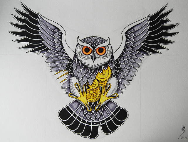 Owl Chest Tattoo Drawing