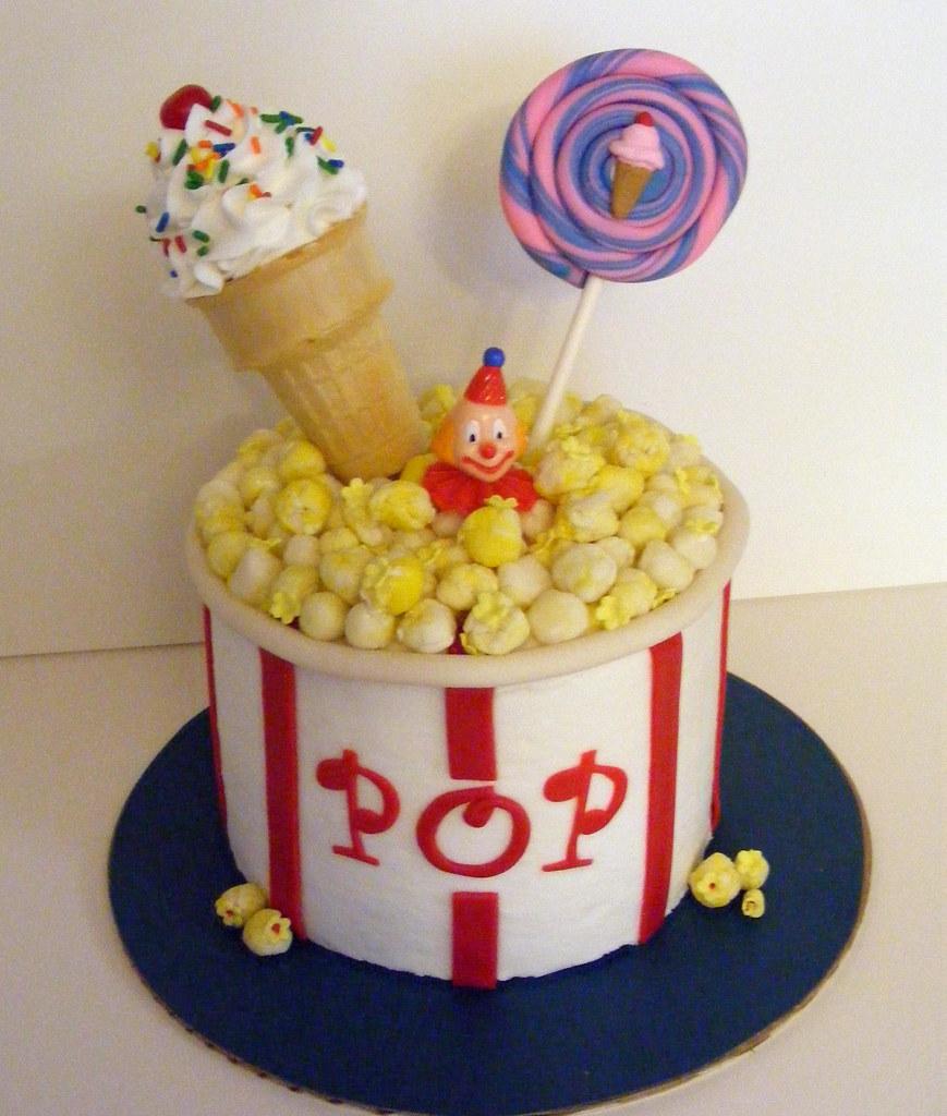 Carnival Circus Pop Corn Bucket Birthday Cake Sherri Nicholas