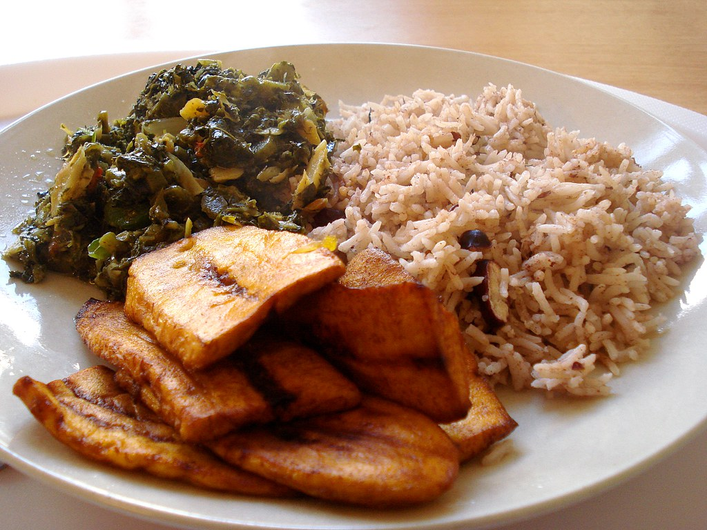 Callaloo rice and fried plantain at leone caribbean cuis for About caribbean cuisine