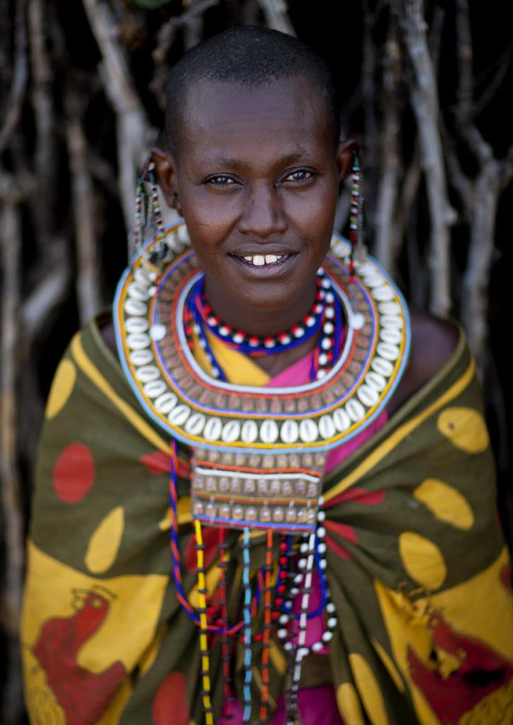 maasai woman in traditional clothes kenya the maasais