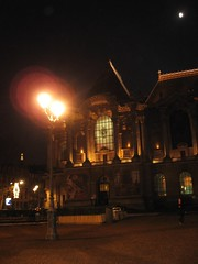 Nighttime outside of the Palais des Beaux Arts