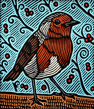 small robin woodcut | by Lisa Brawn