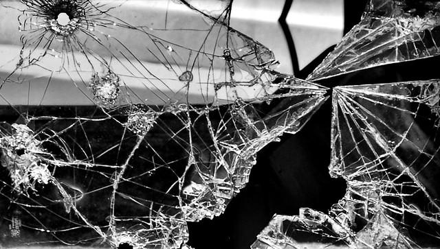 broken glass car black and white | Shannon Starr | Flickr