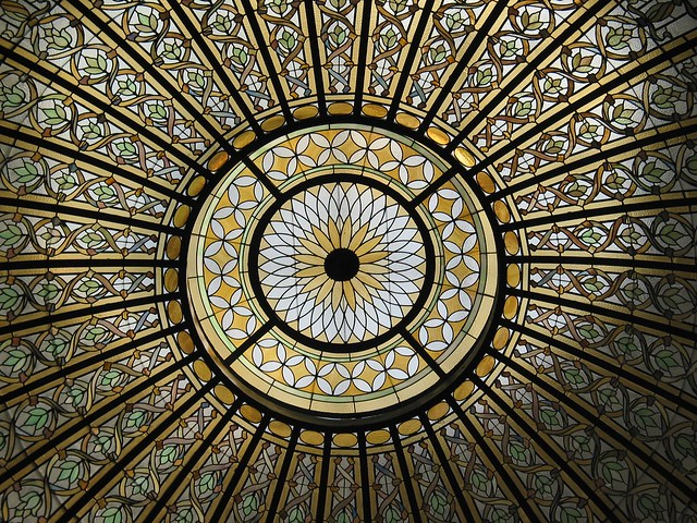 Bixby Memorial Library (1912) – stained glass dome ...