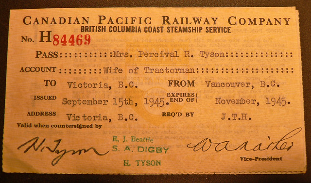 CPR Canadian Pacific Railway Company Steamship ticket 1945 ... Pacific Railway Company