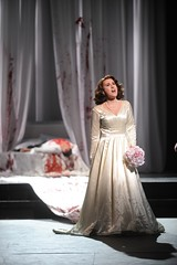 Lucia in a daze after murdering her new husband Arturo | by Opera Cleveland