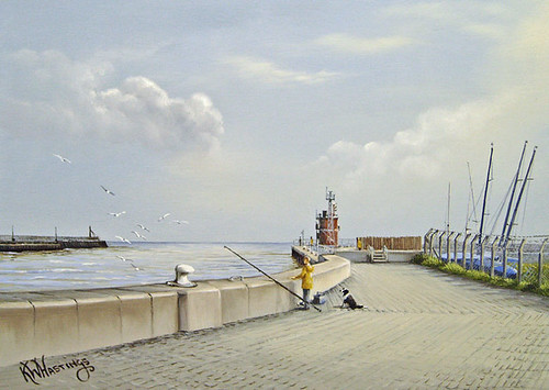 fishing at gorleston near the pier oil painting 25 5 x