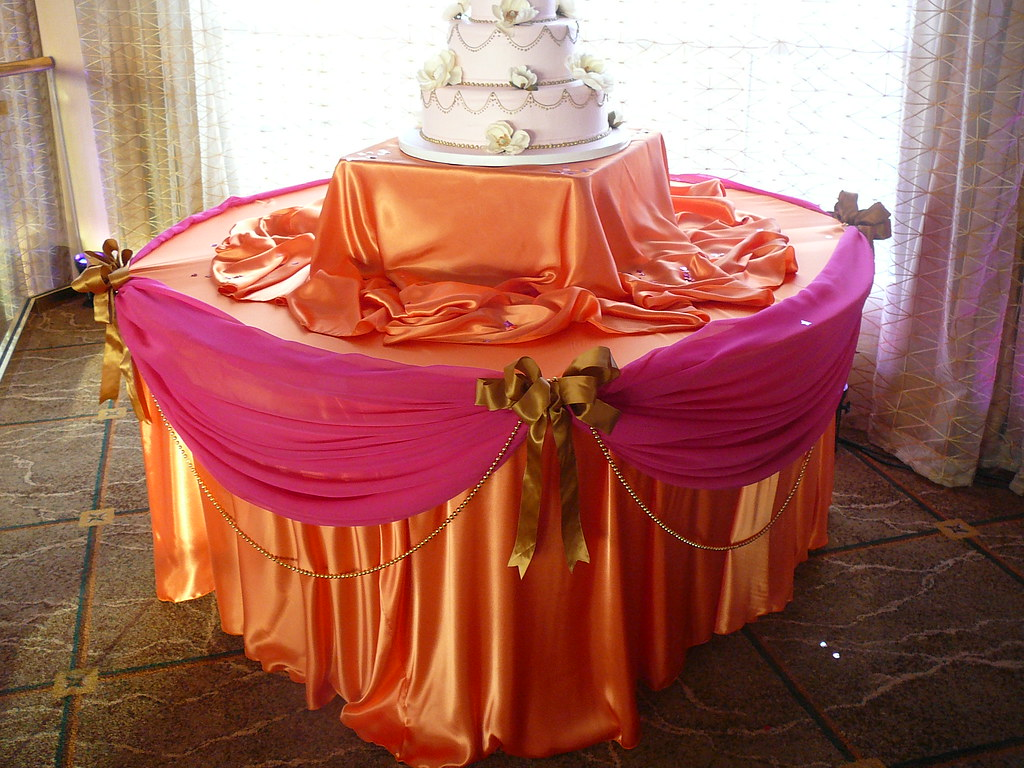 cake table all satin table linens orange and fuchsia sati flickr. Black Bedroom Furniture Sets. Home Design Ideas