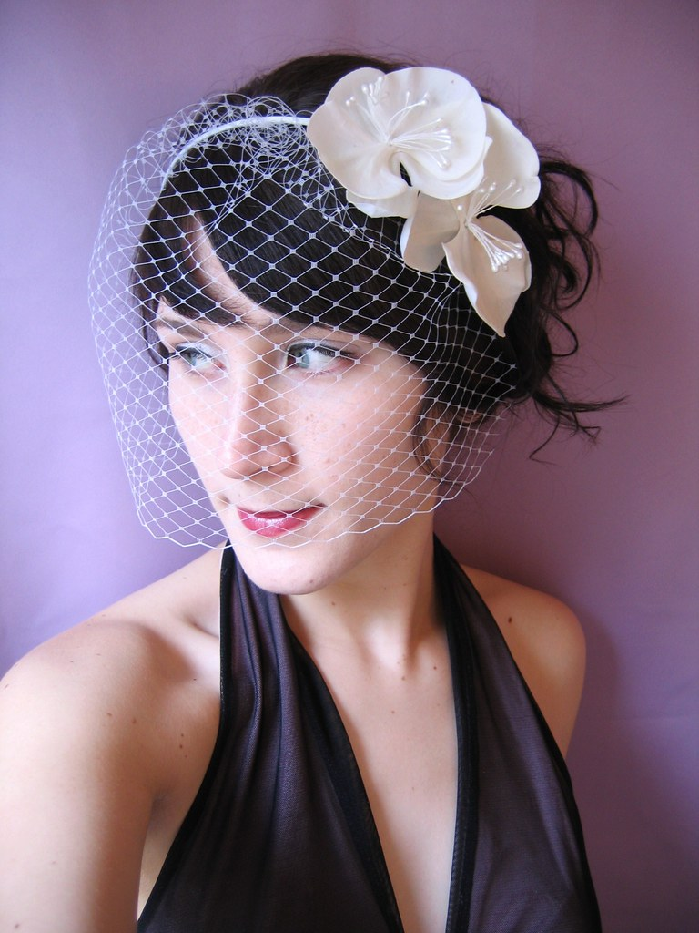 hair style for brides birdcage veil headband with orchids available at www 4064