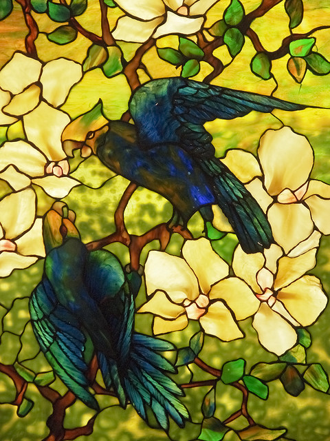 Louis Comfort Tiffany Hibiscus And Parrots Stained Glass