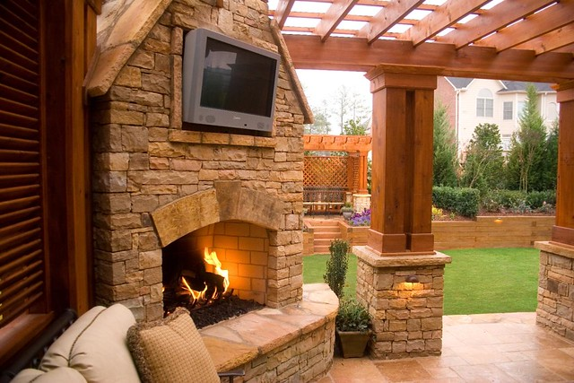 Duluth fireplace and outdoor tv innovative outdoors llc - Outdoor fireplace with tv ...