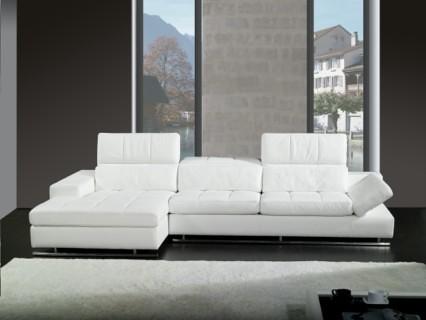 Sofa esquinero derecho en cuero blanco ref 127 01 for Sofa piel esquinero