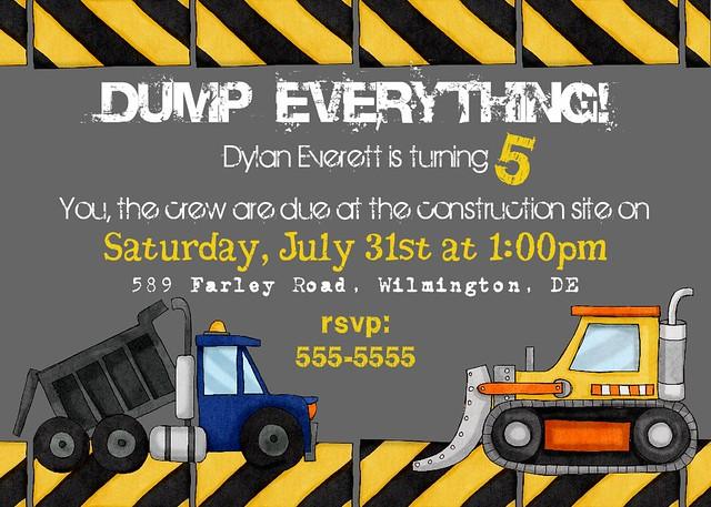 Construction Birthday Party Invitation 6 – Construction Party Invitations