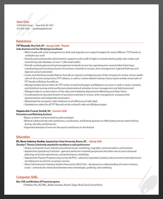 Sample Artist Resume   Sample Artist Resume from ...