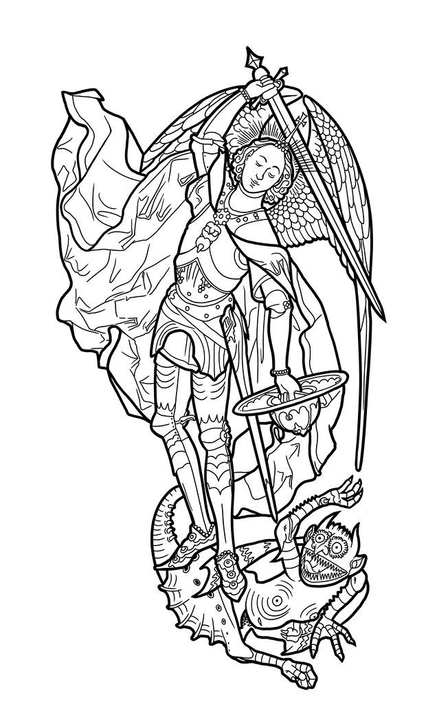 St. Michael Tattoo Linework | First project on new Cintiq: L ...