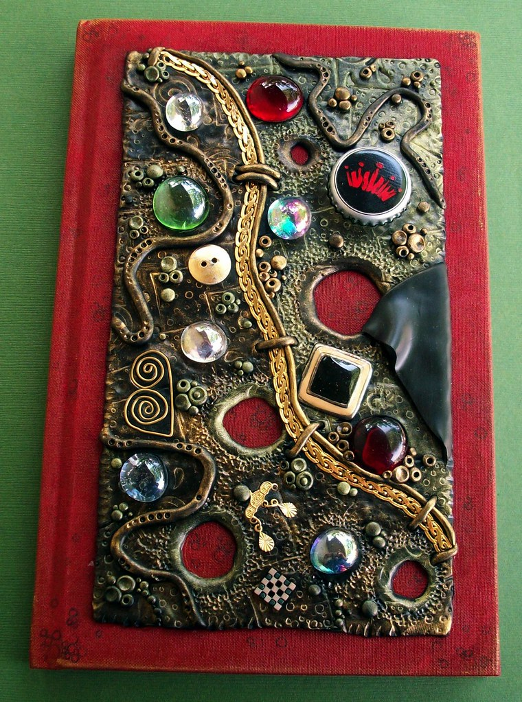 Steampunk Book Cover Tutorial : Red steampunk journal got everything but the kitchen