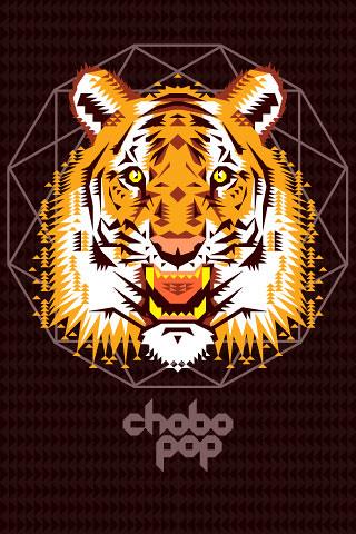 Chobopop Geometric Tiger IPhone Wallpaper
