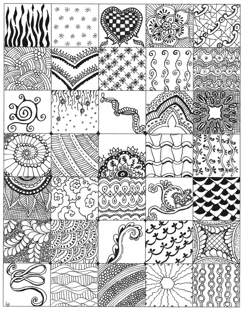 My zentangle bits 01 while making my first 4 zentangles - Doodle dessin ...