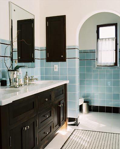 William Hefner Vintage Updated Bath Bathroom Blue Square C