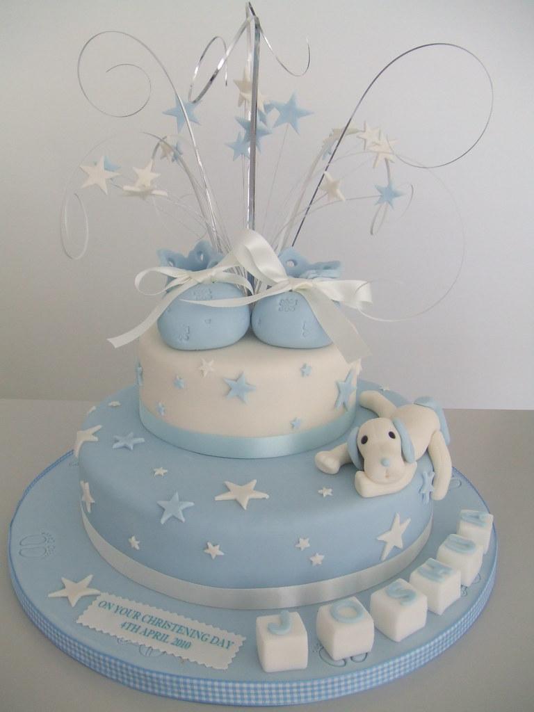 CAKE - Boys Christening 2 tier christening cake with ...