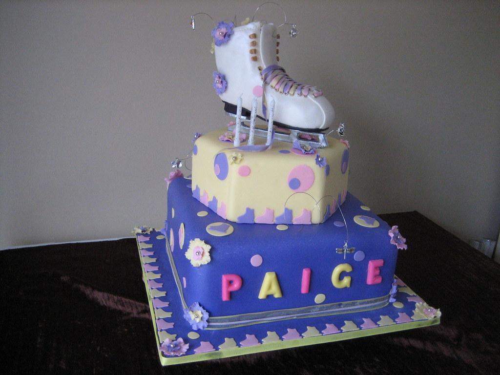 Ice Skate Cake 2 Tiered Ice Skategirls Birthday Cake Made Flickr