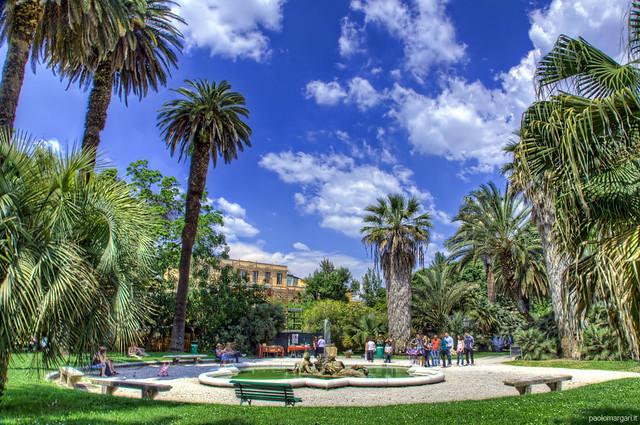 Fountain of Tritons, Botaniska trädgården i Rom, Italien