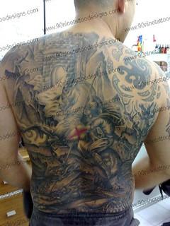 St george and the dragon full back tattoo 01 tattoo for St george tattoo