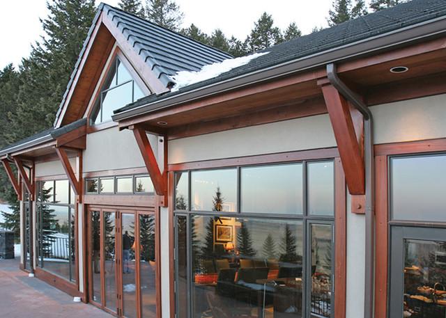 Red deer ranch timber frame home exterior windows flickr for Ranch timber frame plans
