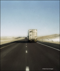 Drivers eye-view of 18-wheeler driving down highway | by Bob R.L. Evans