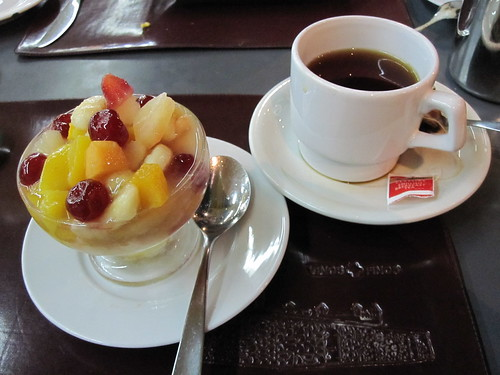 Fruit salad and tea | by veganbackpacker