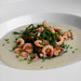 Jerusalem Artichoke Soup with Smoked Shrimp and Samphire